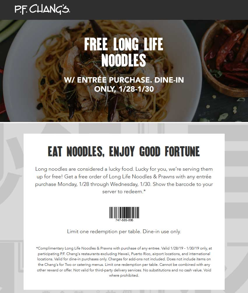 P.F. Changs Coupon May 2019 Free long life noodles with your entree at P.F. Changs