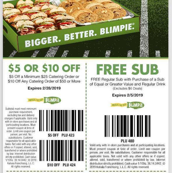 Blimpie Coupon October 2019 Second sub sandwich free at Blimpie