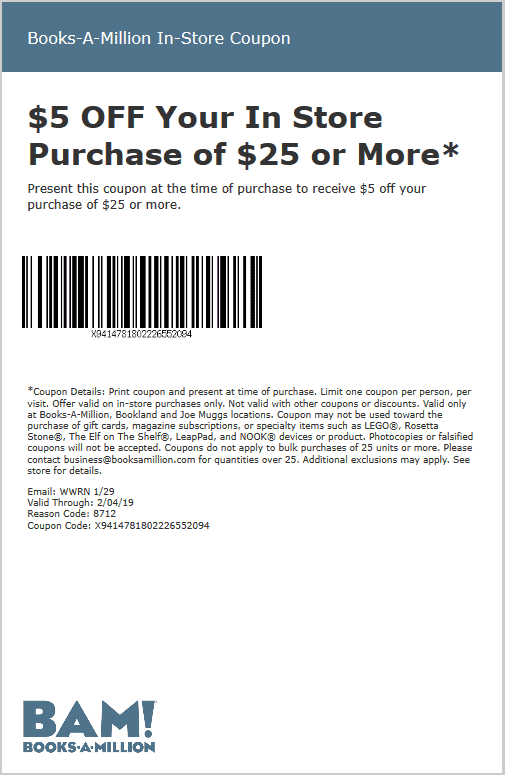 Books-A-Million Coupon January 2020 $5 off $25 at Books-A-Million