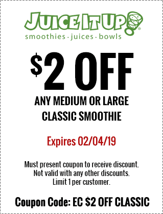 JuiceItUp.com Promo Coupon $2 off a smoothie at Juice it Up