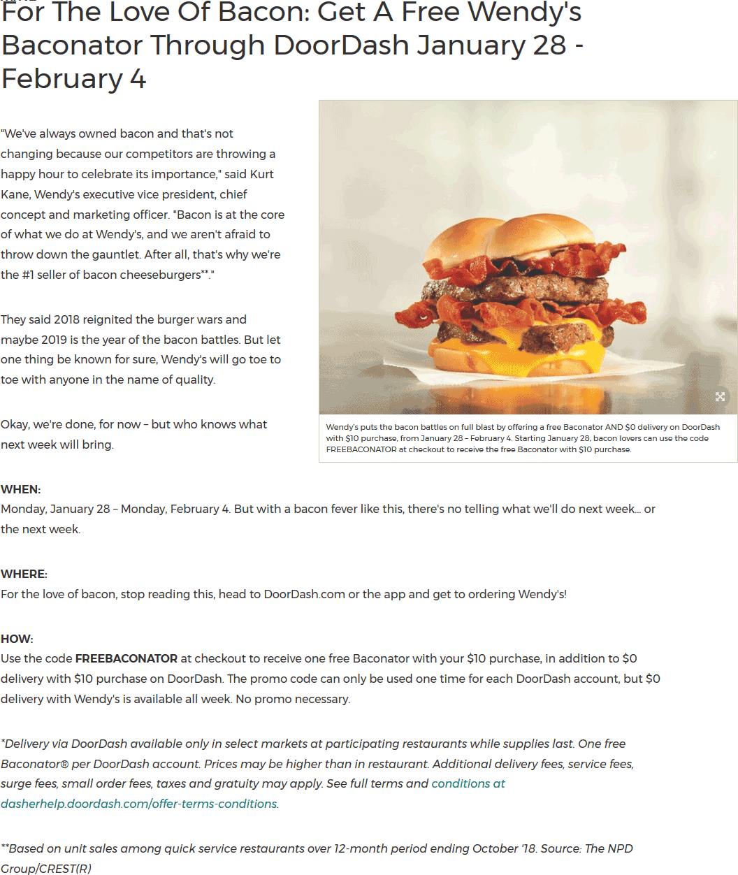 Wendys Coupon March 2019 Free bacon cheeseburger with $10 spent on delivery at Wendys via promo code FREEBACONATOR