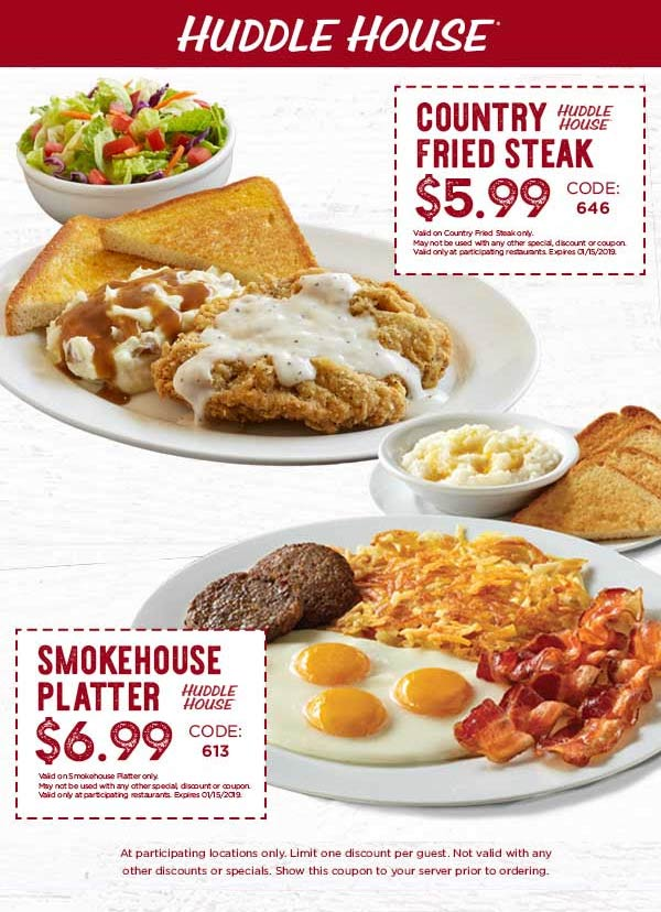 Huddle House Coupon August 2019 $7 breakfast platter at Huddle House restaurants