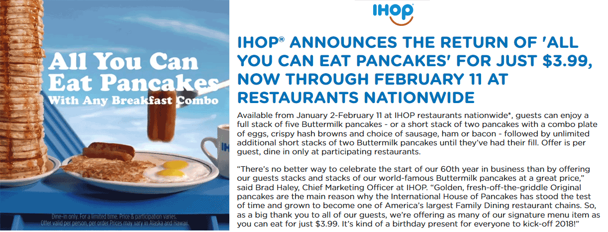 IHOP Coupon November 2019 Bottomless pancakes with your meal at IHOP