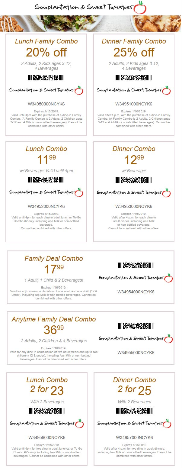 Sweet Tomatoes Coupon October 2019 25% off & more at Souplantation & Sweet Tomatoes restaurants