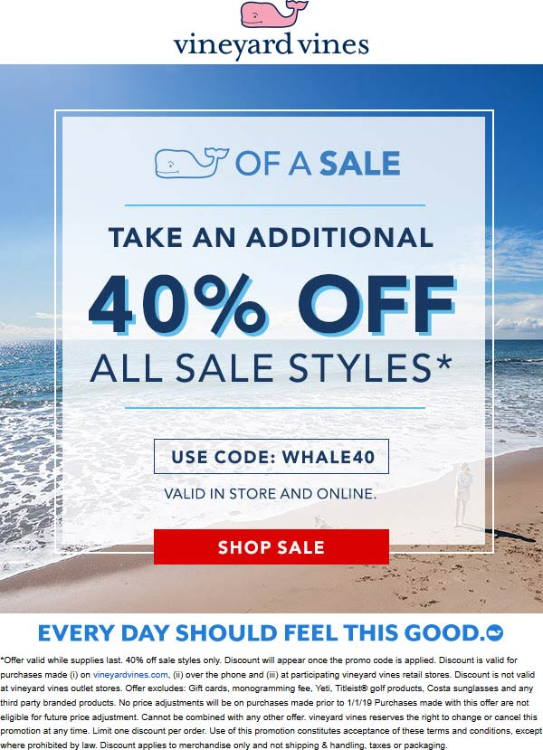 Vineyard Vines Coupon November 2019 Extra 40% off sale items at Vineyard Vines, or online via promo code WHALE40