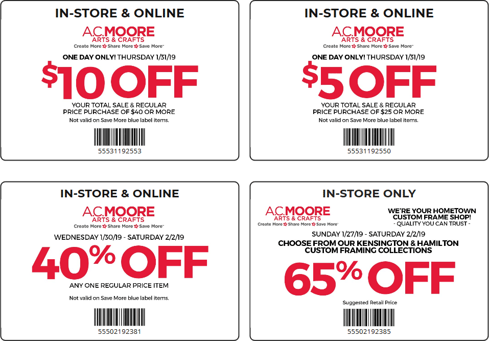 A.C. Moore Coupon June 2019 $5 off $25 & more today at A.C. Moore, or online via promo code 55531192550
