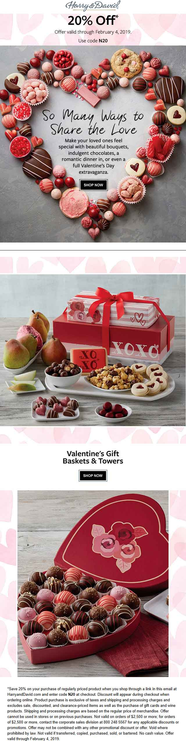 Harry & David Coupon November 2019 20% off Valentines gift boxes at Harry & David via promo code N20