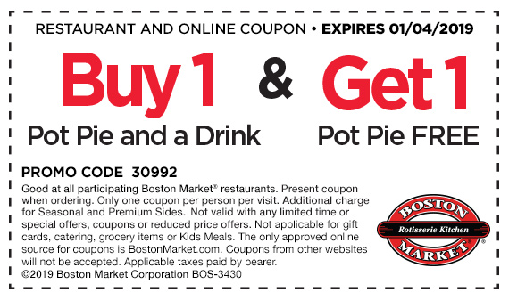BostonMarket.com Promo Coupon Second pot pie free today at Boston Market restaurants