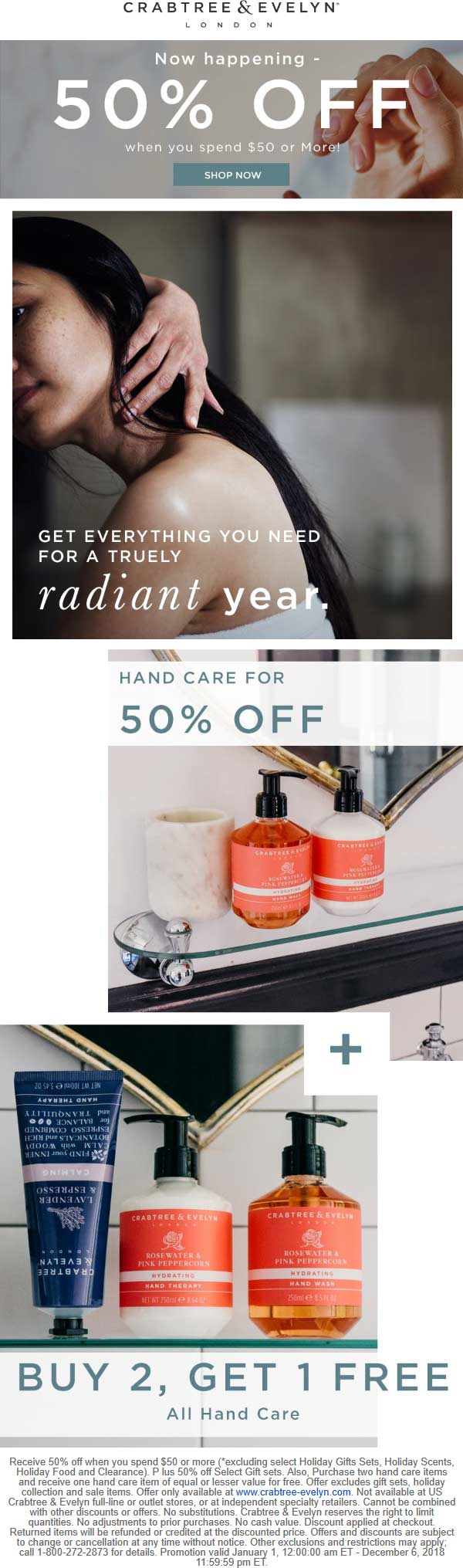 Crabtree & Evelyn Coupon July 2019 50% off $50+ & more online at Crabtree & Evelyn