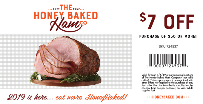 HoneyBaked Coupon September 2019 $7 off $50 at Honeybaked Ham restaurants