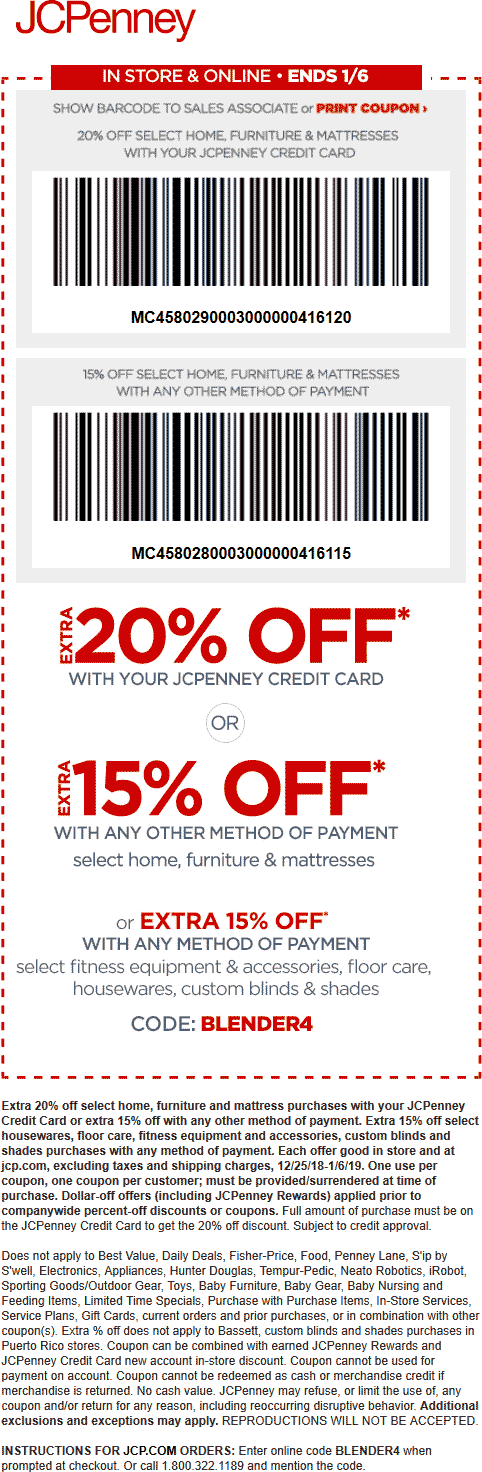 JCPenney Coupon January 2020 15% off homegoods at JCPenney, or online via promo code BLENDER4