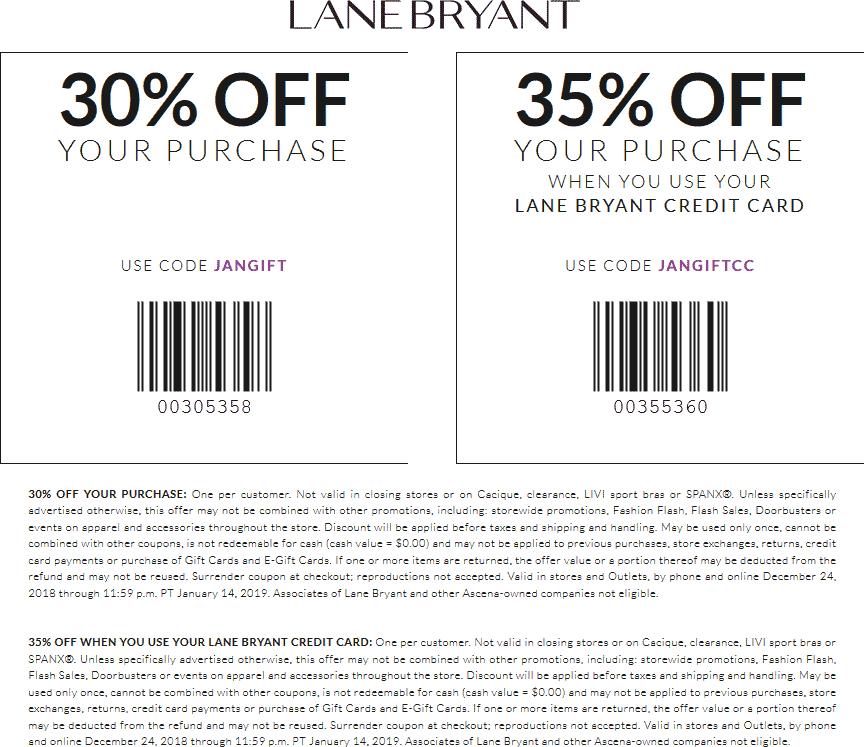 Lane Bryant Coupon October 2019 30% off at Lane Bryant, or online via promo code JANGIFT