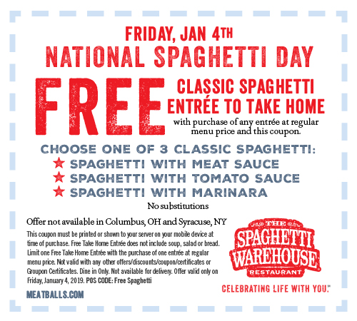 Spaghetti Warehouse Coupon April 2019 Second spaghetti free as takeout today at Spaghetti Warehouse restaurants