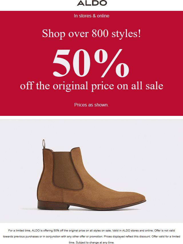 Aldo Coupon January 2020 Sale items are 50% off at ALDO, ditto online