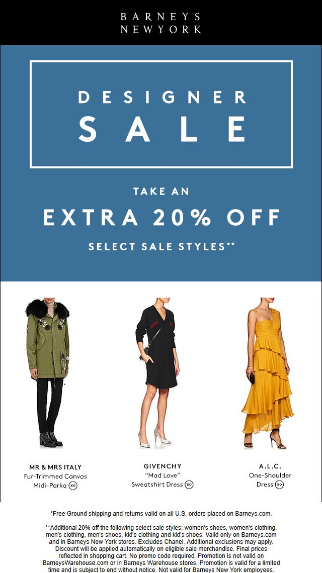 Barneys Coupon September 2019 Extra 20% off sale items at Barneys New York, ditto online
