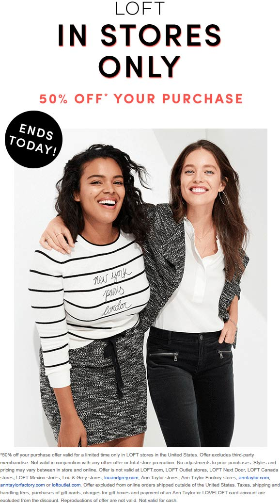 LOFT Coupon August 2019 50% off today at LOFT