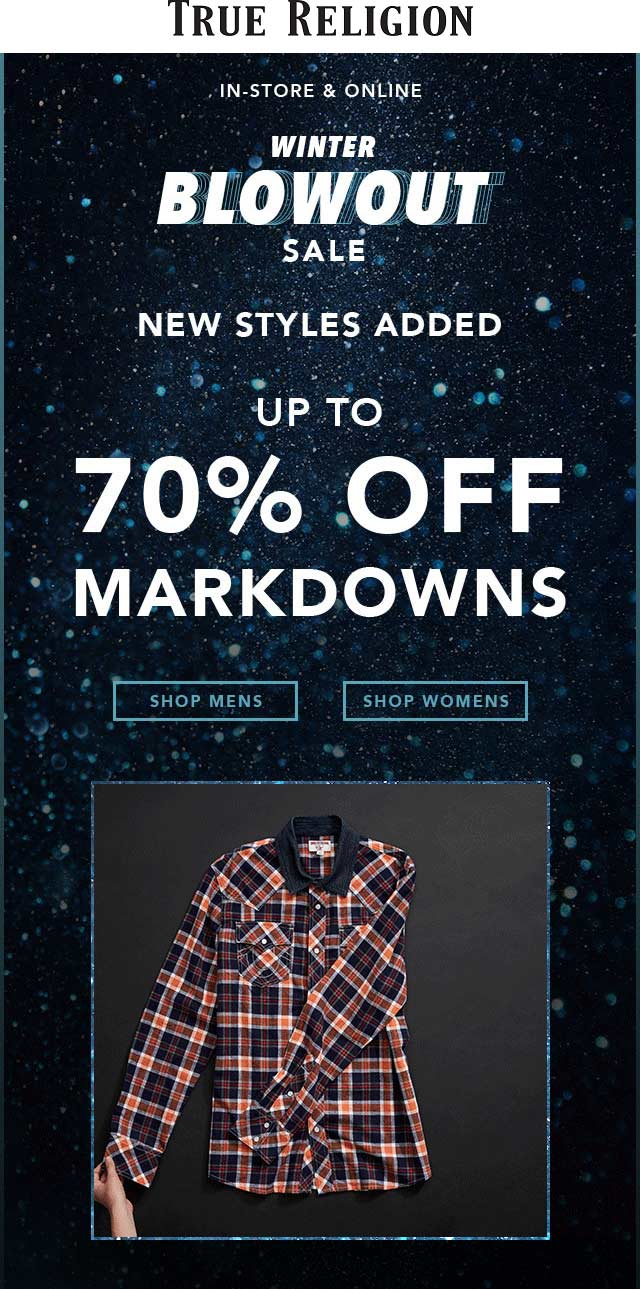True Religion Coupon August 2019 70% off clearance going on at True Religion, ditto online