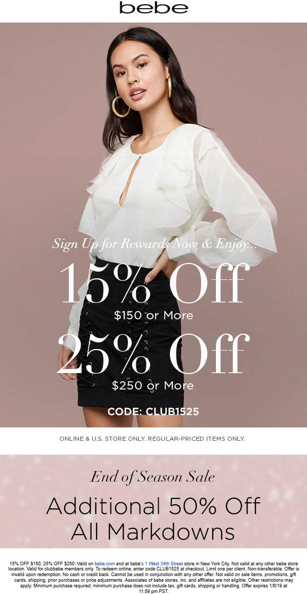 Bebe Coupon August 2019 15-25% off $150 today at bebe, or online via promo code CLUB1525