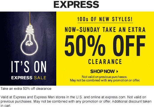 Express Coupon November 2019 Extra 50% off clearance today at Express, ditto online