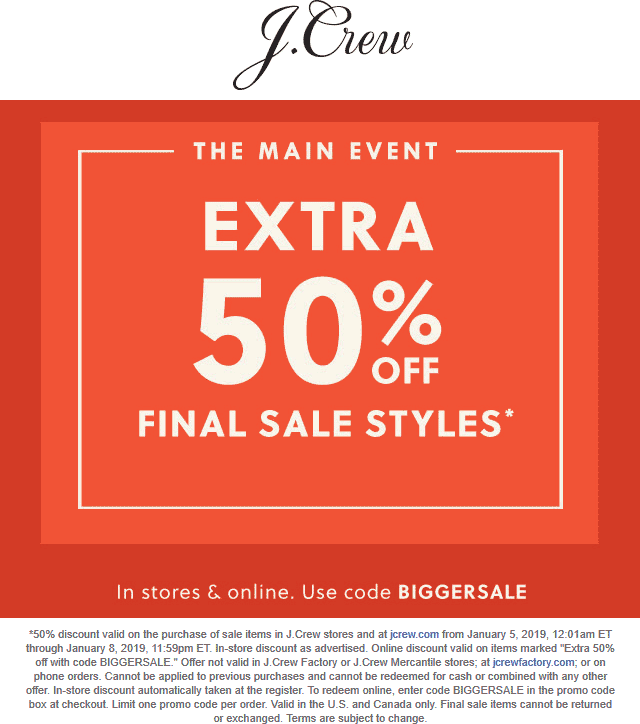 J.Crew Coupon January 2020 Extra 50% off clearance at J.Crew, or online via promo code BIGGERSALE