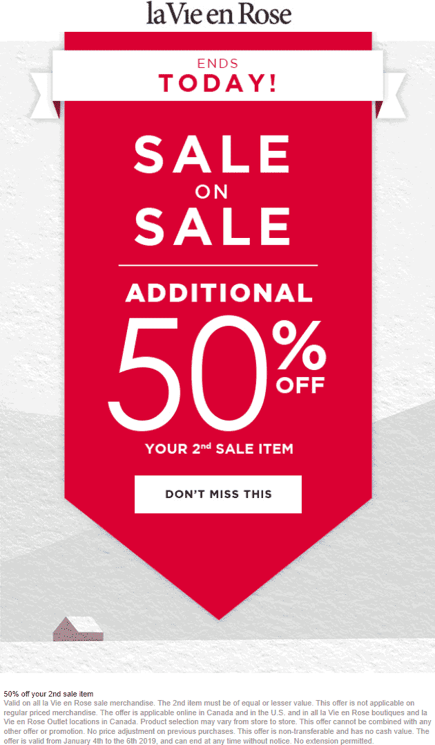 La Vie en Rose Coupon May 2019 Second sale item 50% off today at La Vie en Rose, ditto online