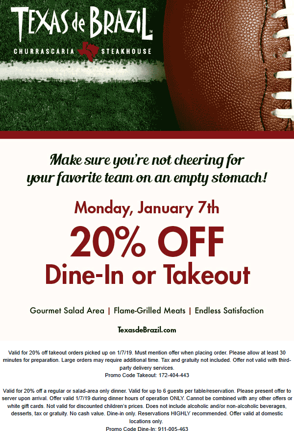 Texas de Brazil Coupon January 2020 20% off Monday at Texas de Brazil restaurants