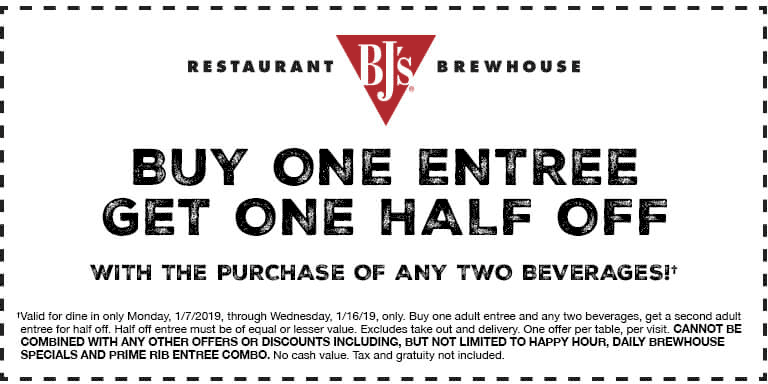 BJs Restaurant Coupon June 2019 Second entree 50% off at BJs Restaurant