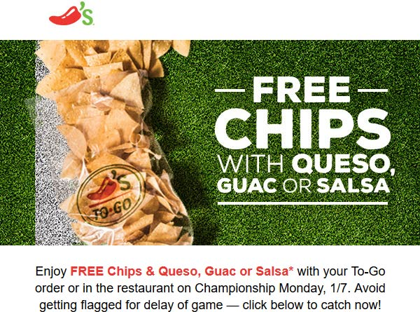 Chilis Coupon November 2019 Free chips & queso with your takeout today at Chilis restaurants