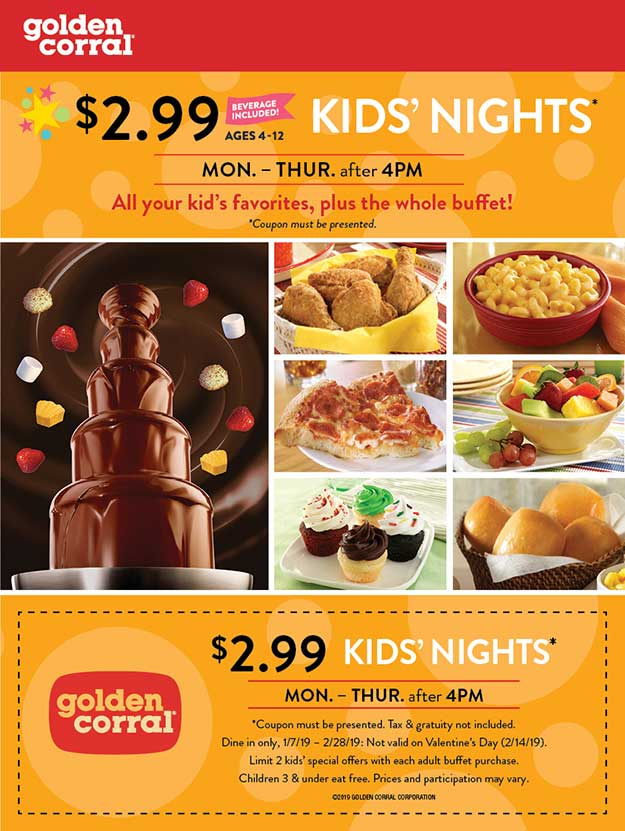 Golden Corral Coupon January 2020 $3 kids nights Mon-Thur after 4p at Golden Corral restauarants