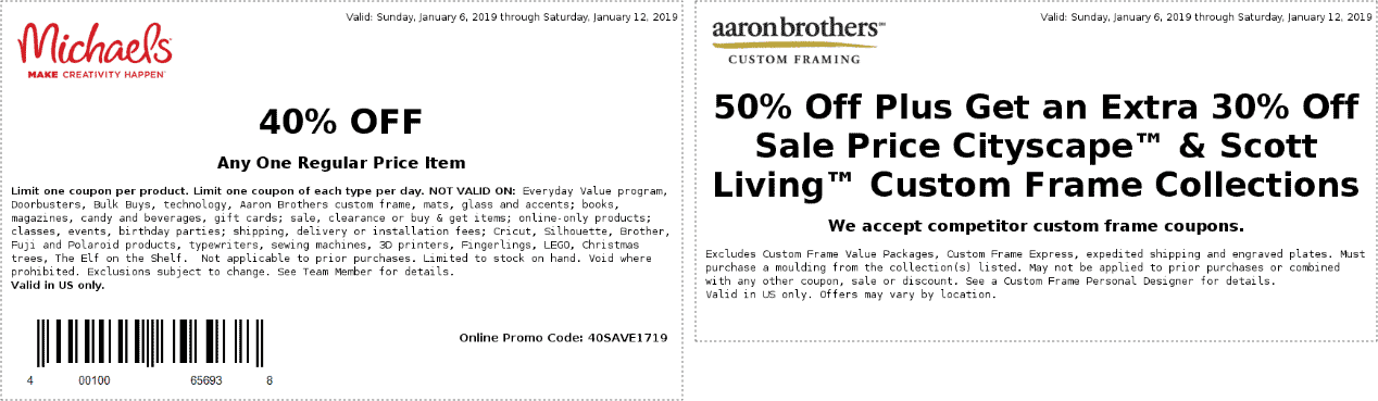 Michaels.com Promo Coupon 40% off a single item at Michaels, or online via promo code 40SAVE1719