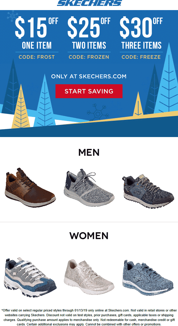 Skechers Coupon August 2019 $15 off a single item & more online at Skechers via promo code FROST