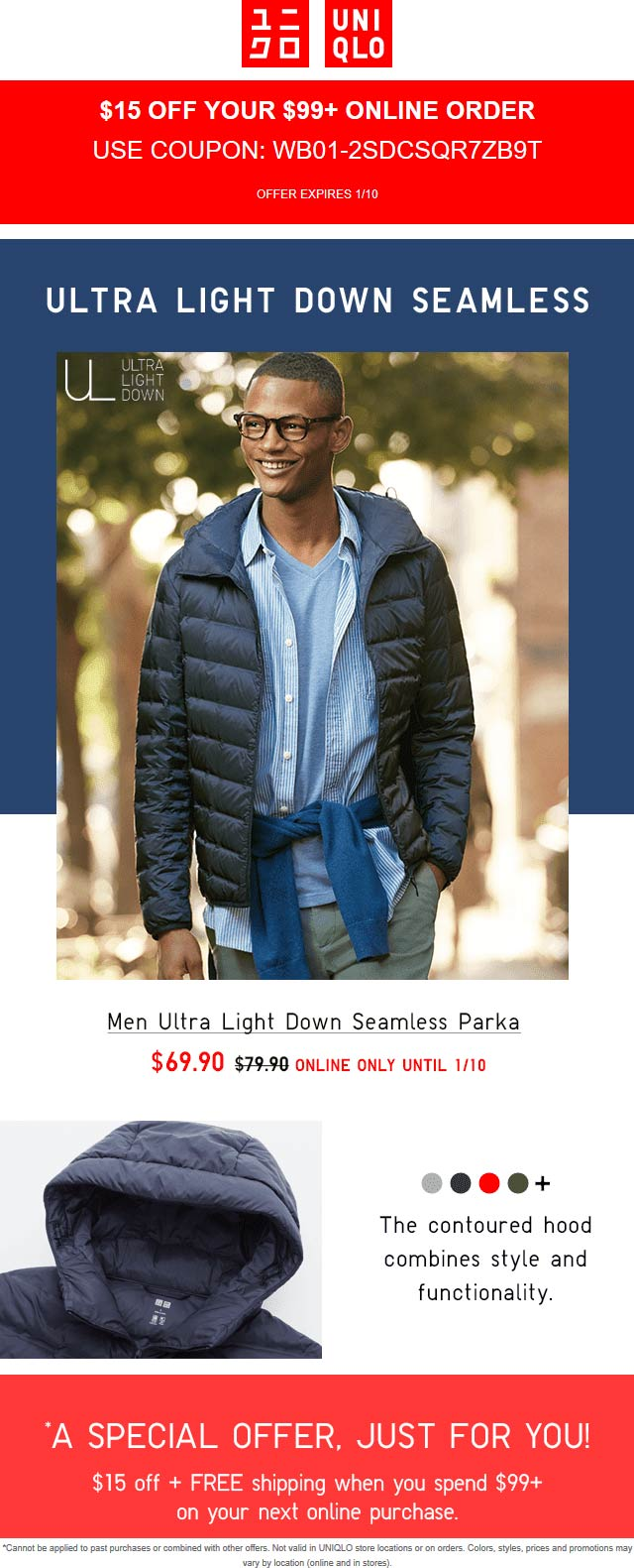 Uniqlo Coupon October 2019 $15 off $99 online at Uniqlo via promo code WB01-2SDCSQR7ZB9T
