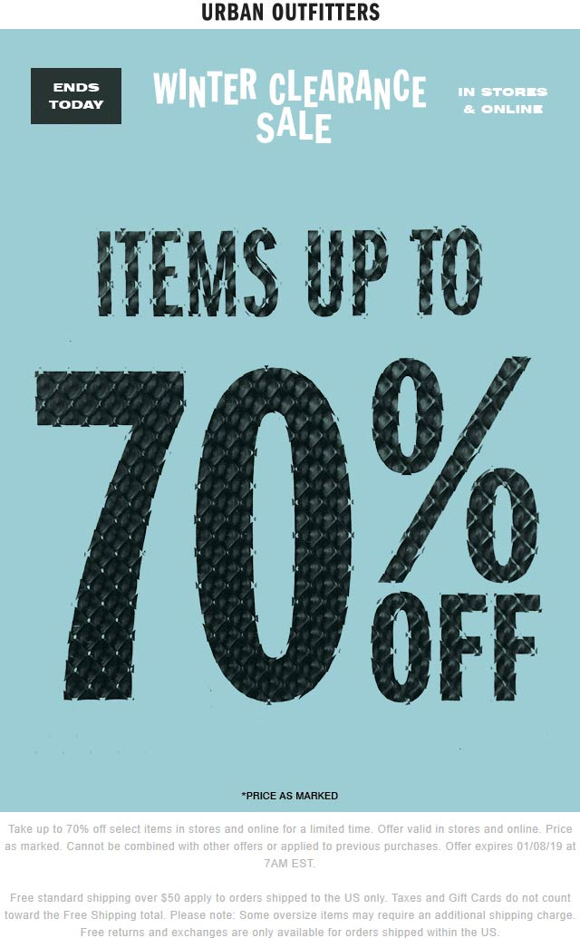 UrbanOutfitters.com Promo Coupon 70% winter clearance going on today at Urban Outfitters, ditto online