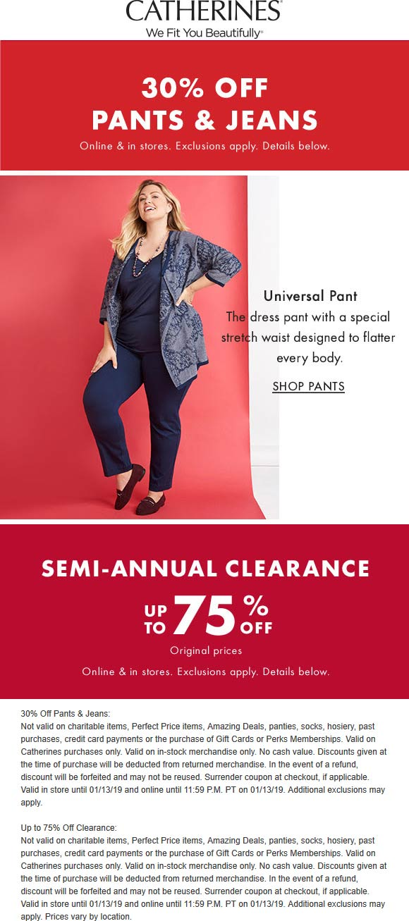 Catherines Coupon July 2019 30% off pants & jeans + 75% clearance going on at Catherines, ditto online