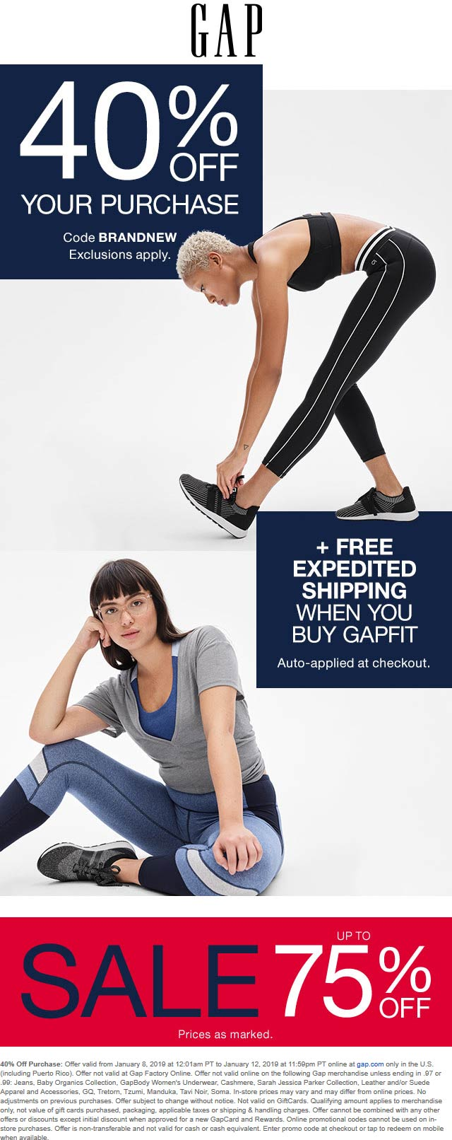 Gap Coupon November 2019 40% off online at Gap via promo code BRANDNEW