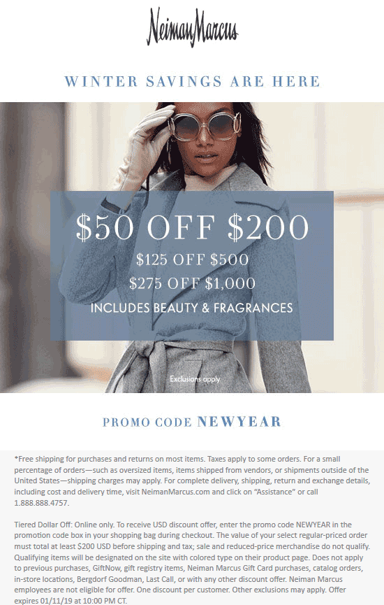 Neiman Marcus Coupon December 2019 $50 off $200 & more online at Neiman Marcus via promo code NEWYEAR