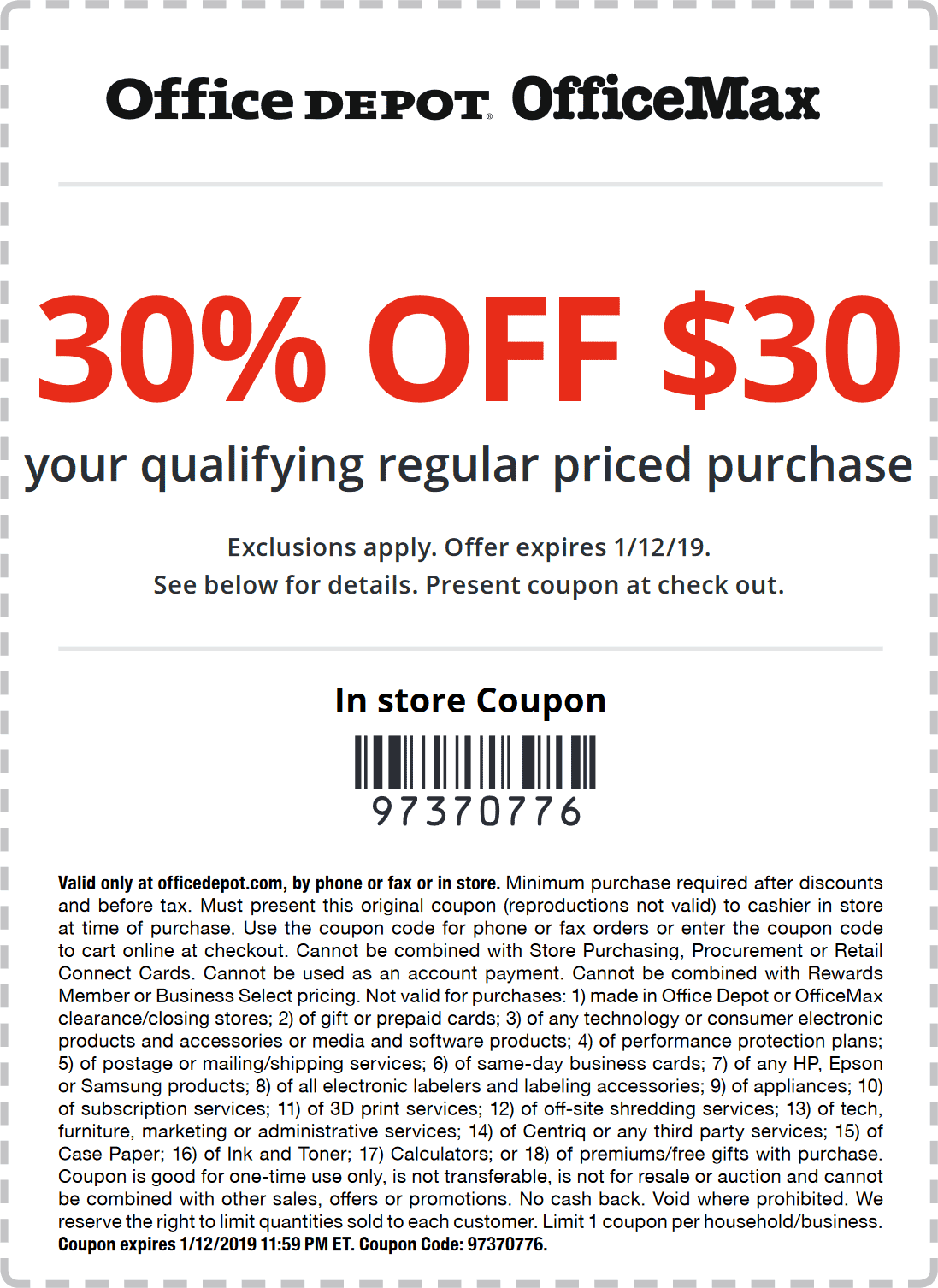 Office Depot Coupon January 2020 30% off $30 at Office Depot, or online via promo code 97370776