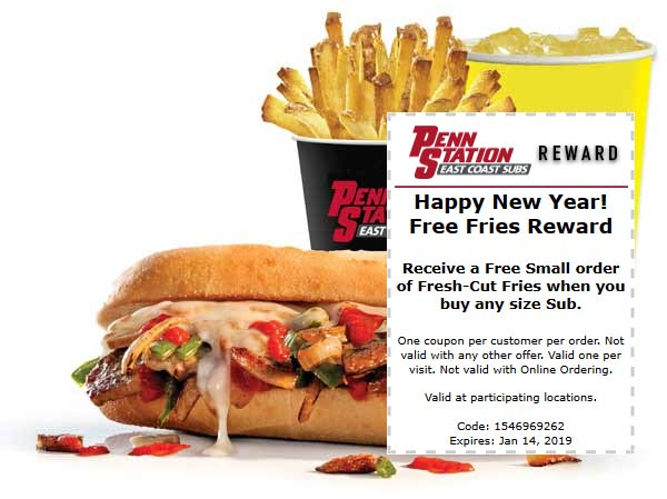 Penn Station Coupon September 2019 Free fries with your sub sandwich at Penn Station