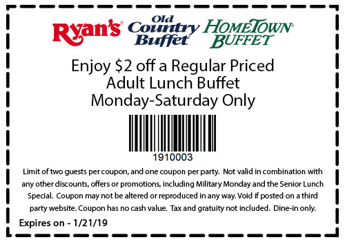 Hometown Buffet Coupon November 2019 $2 off lunch at Ryans, Hometown Buffet & Old Country Buffet