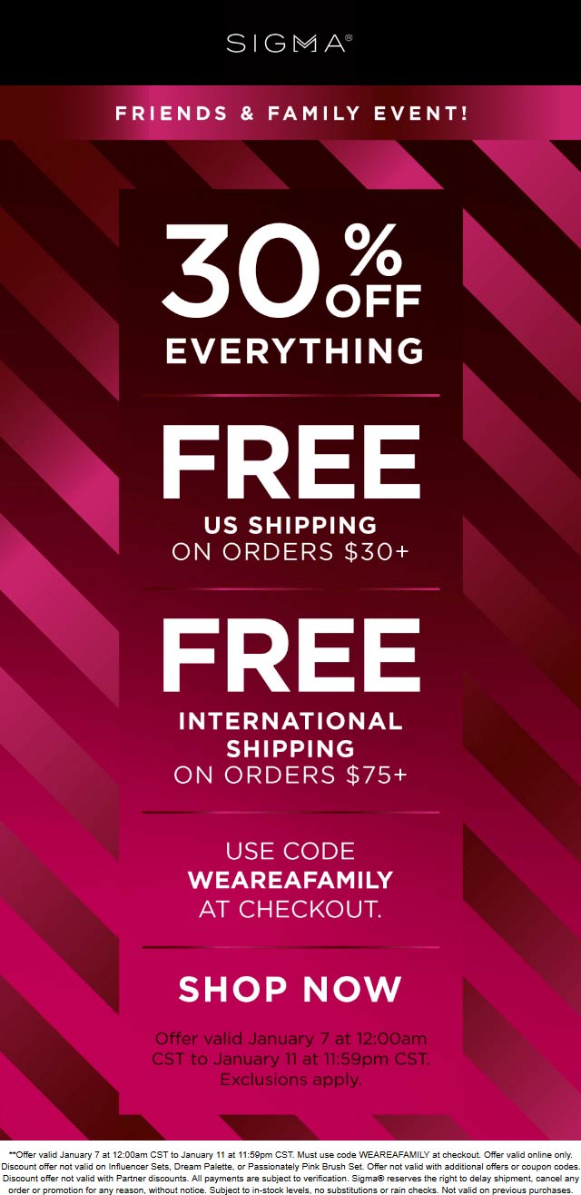 Sigma Coupon July 2019 30% off everything online at Sigma beauty via promo code WEAREAFAMILY