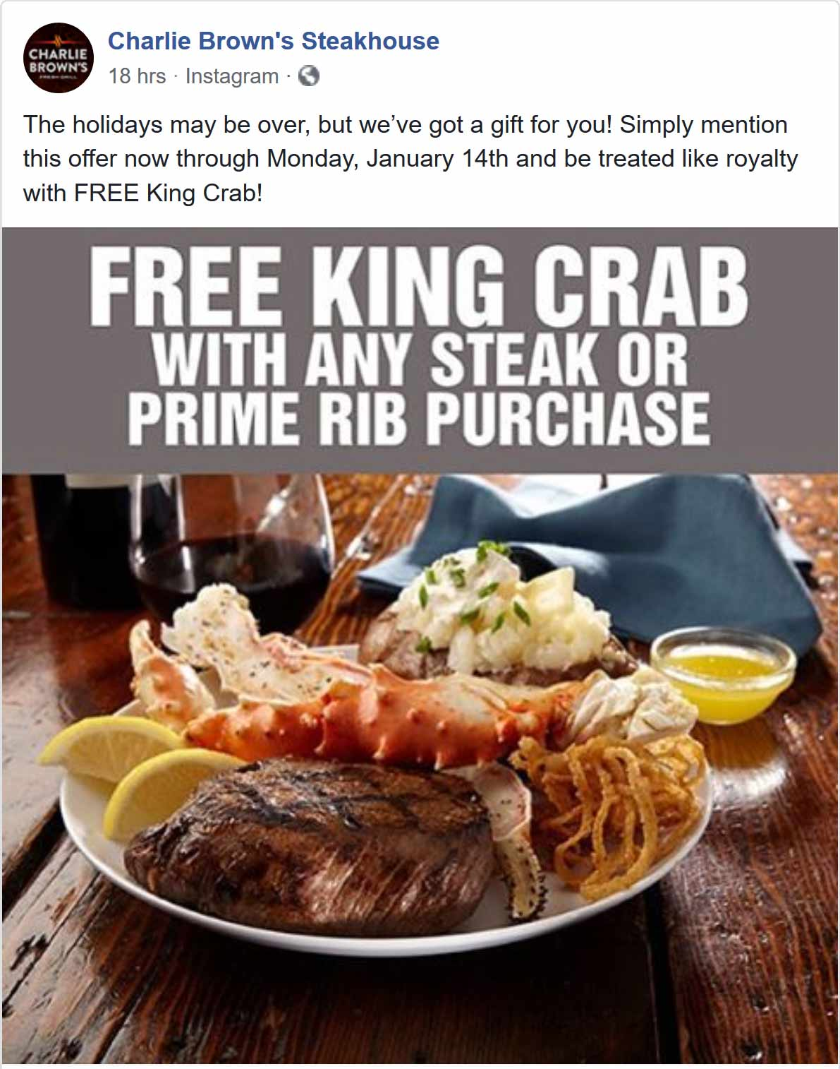 Charlie Browns Coupon July 2019 Free king crab with your steak at Charlie Browns restaurants