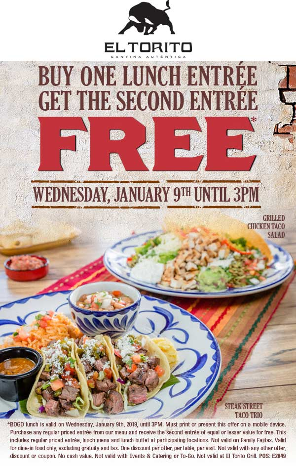 El Torito Coupon September 2019 Second lunch free today at El Torito