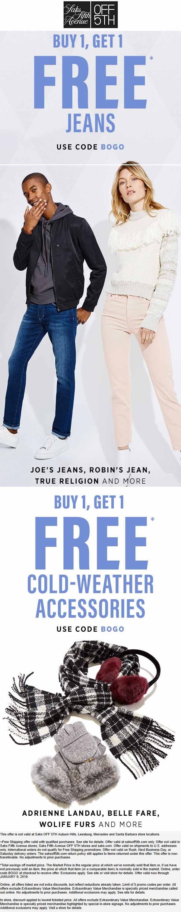 OFF 5TH Coupon January 2020 Second jeans free & more online at Saks Fifth Avenue OFF 5TH via promo code BOGO