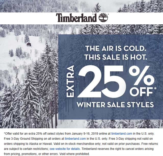 Timberland Coupon July 2019 Extra 25% off sale items online at Timberland