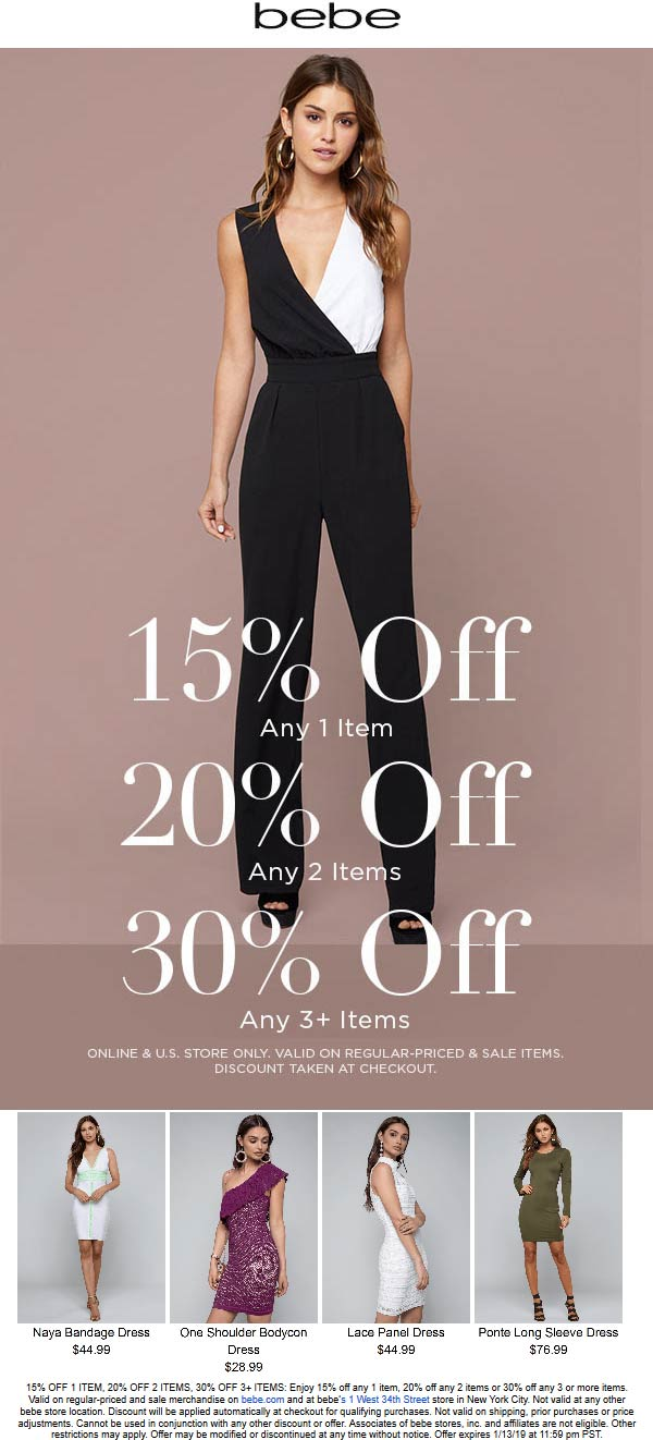 Bebe Coupon April 2019 15-30% off at bebe, ditto online