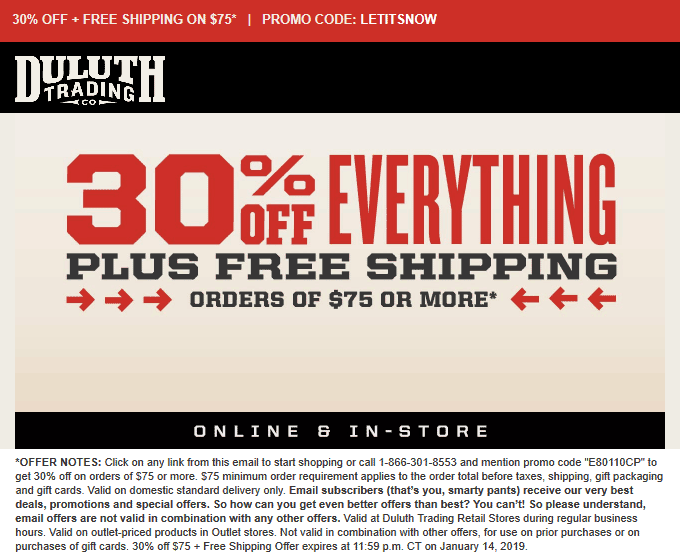 Duluth Trading Co Coupon May 2019 30% off everything at Duluth Trading Co, or online via promo code LETITSNOW