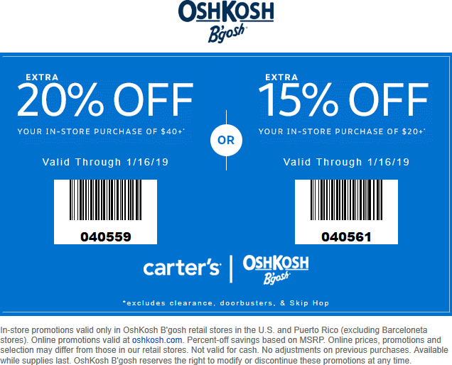 OshKosh Bgosh Coupon November 2019 15-20% off at OshKosh Bgosh