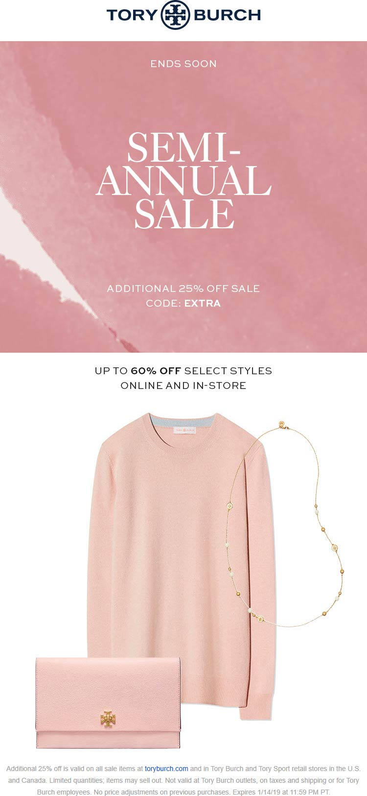 Tory Burch Coupon May 2019 Extra 25% off sale items at Tory Burch, or online via promo code EXTRA