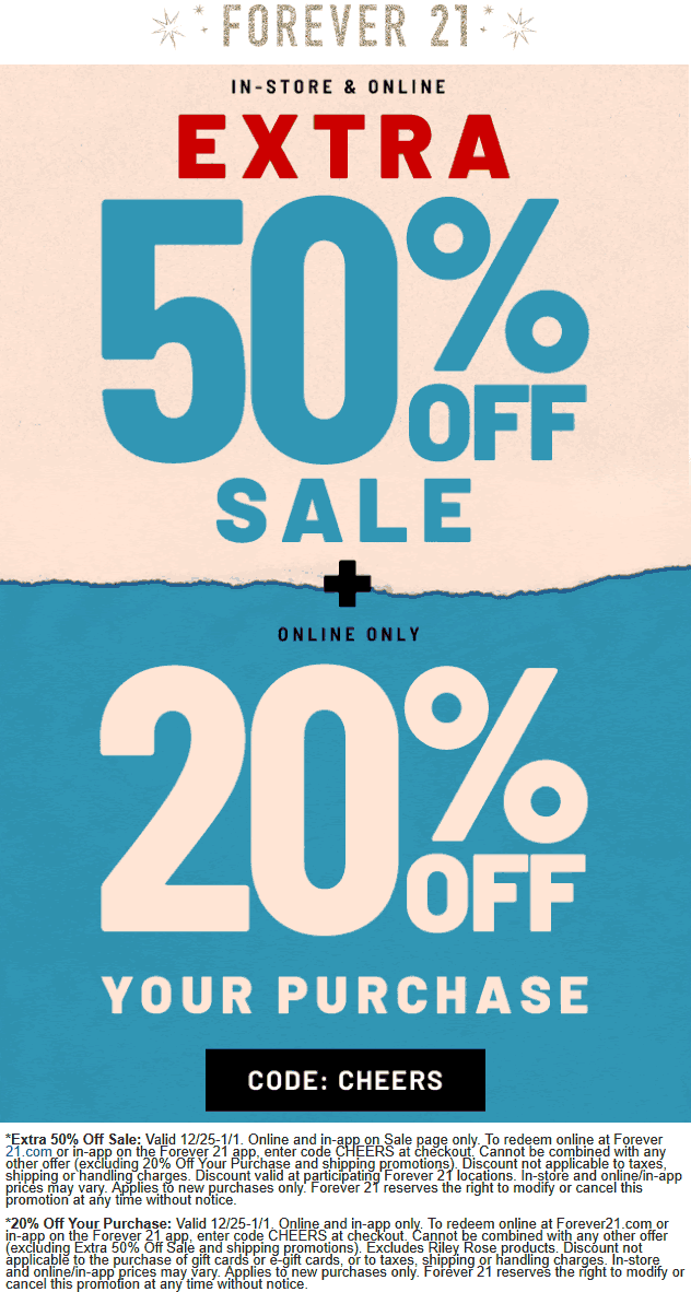 Forever 21 Coupon January 2020 Extra 50% off sale items & more today at Forever 21, ditto online