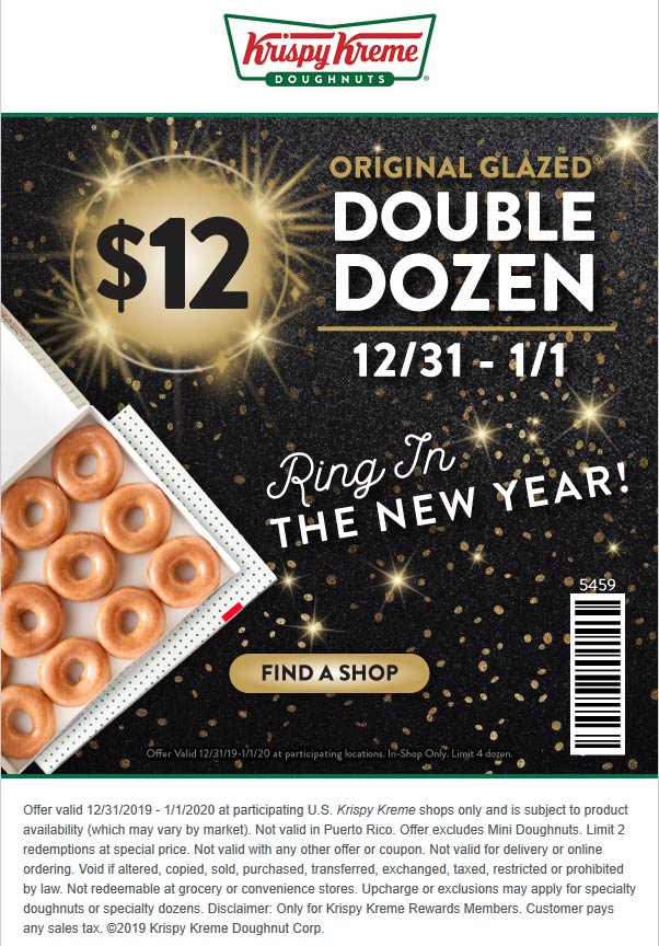 Krispy Kreme Coupon January 2020 2 dozen doughnuts for $12 today at Krispy Kreme